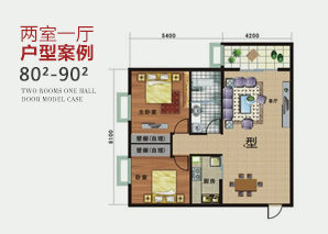 智能家居两室一厅户型案例